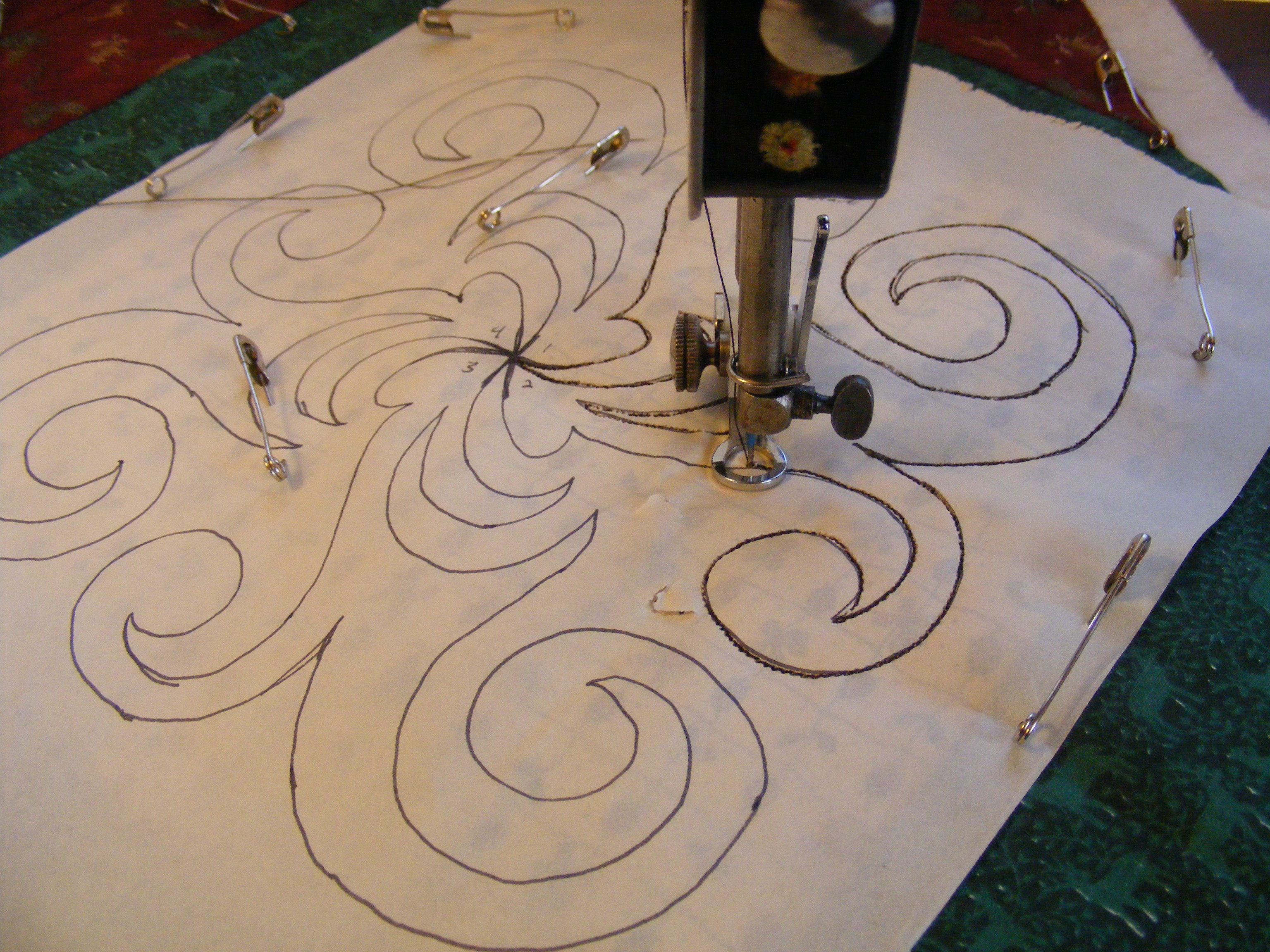 Quilting Stencil Ideas : Free Motion Quilting a Continuous Line Design Sewing With Treadles