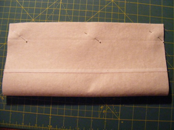 Pellon fused, sew long edge with right sides together