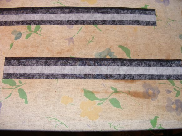 1/4 inch seam allowance pressed, pellon placed in center